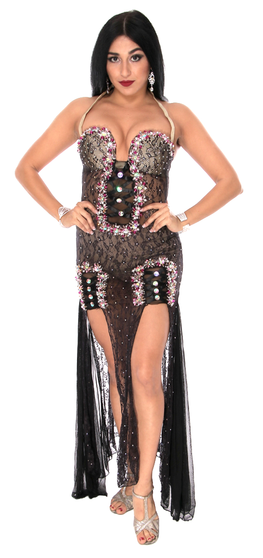 CAIRO COLLECTION: Professional Belly Dance Lace Beledi Dress from Egypt - BLACK / PINK