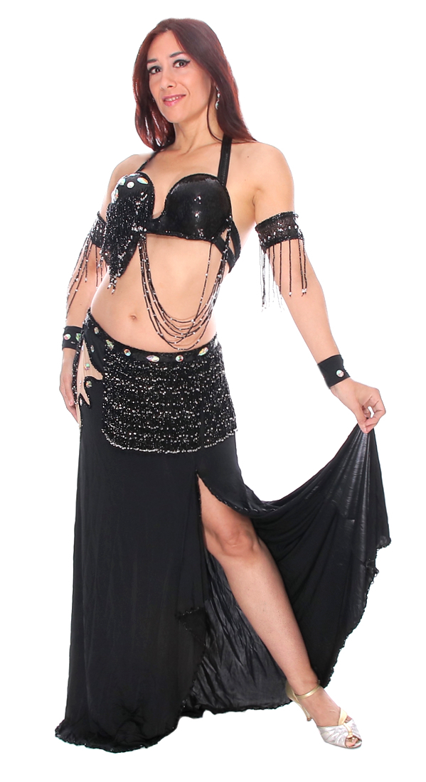 Professional Asymmetric Black Belly Dance Costume from Egypt at  Bellydance com