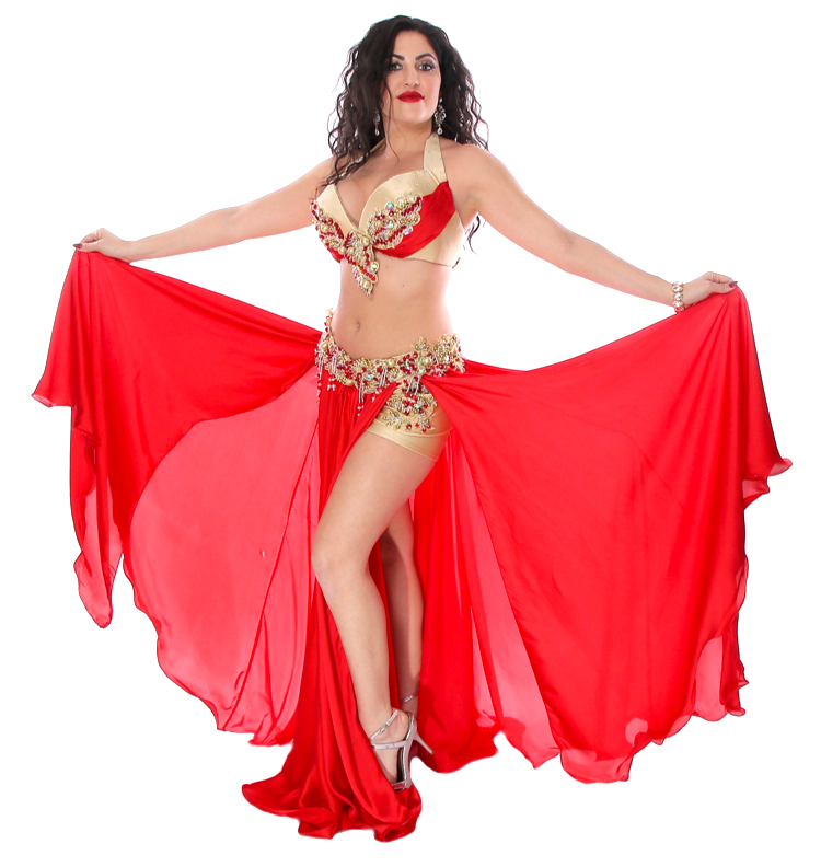 CAIRO COLLECTION: Professional Belly Dance Costume from Egypt - RED / GOLD
