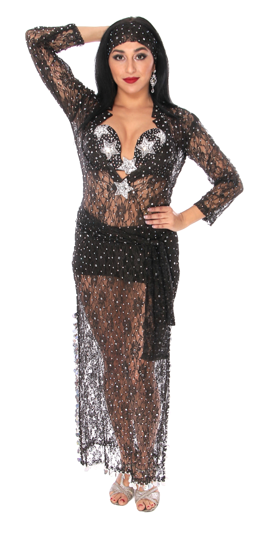 CAIRO COLLECTION: Lace Beledi Saiidi Dress from Egypt - BLACK / SILVER STARS