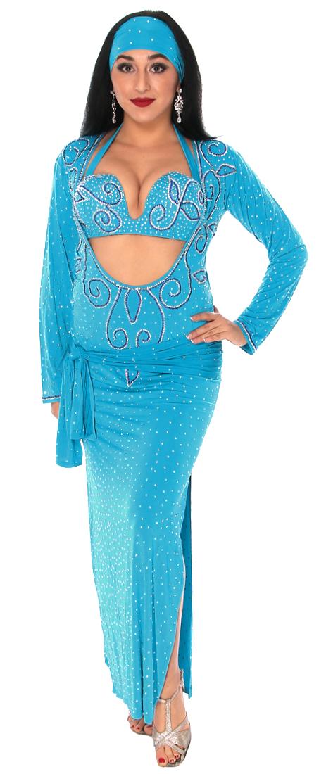 Teal Blue Beledi Saiidi Dress Cairo Collection At