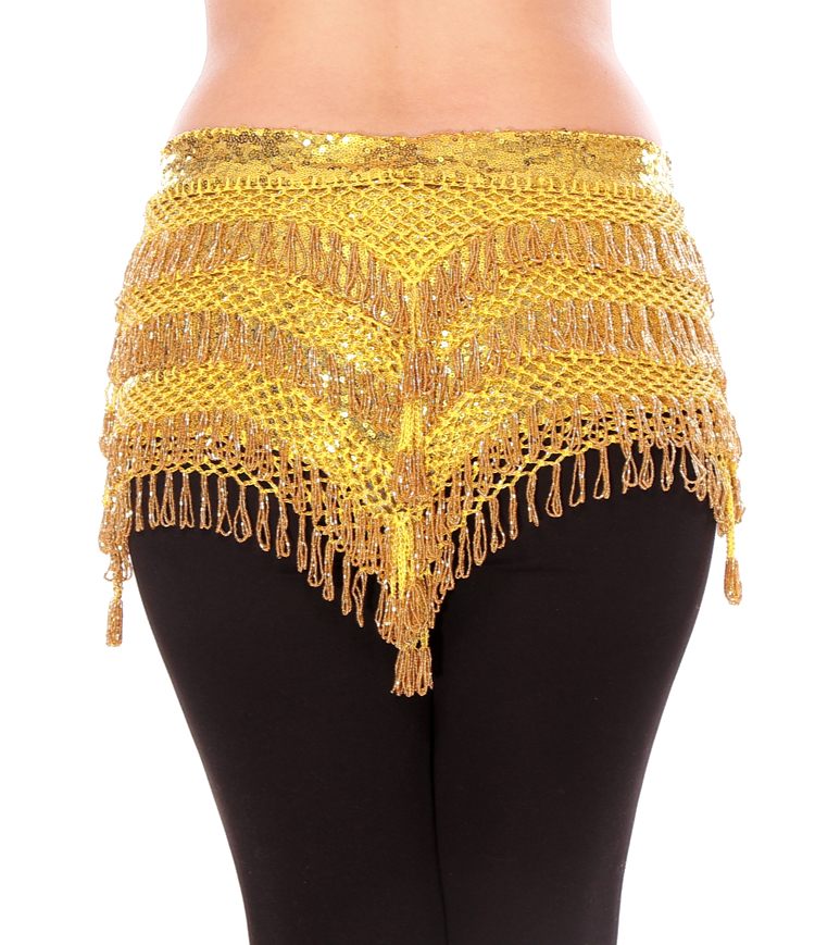 CAIRO COLLECTION: Beaded Pyramid Sequin Hipscarf - YELLOW / GOLD