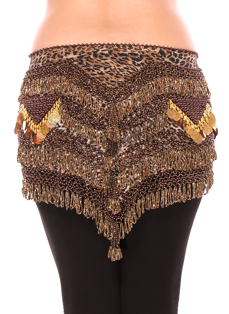 CAIRO COLLECTION: Beaded Chiffon Triangle Hipscarf with Paillette Waves - LEOPARD / GOLD