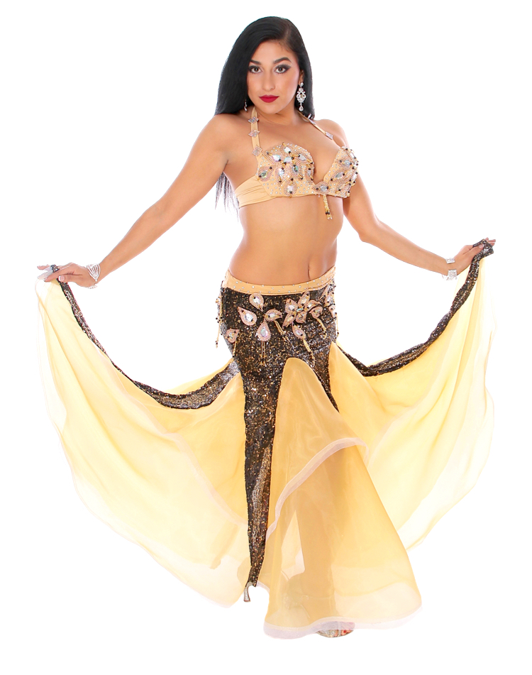 Professional Belly Dance Costume from Egypt in Black and Soft Yellow Cream  at Bellydance.com