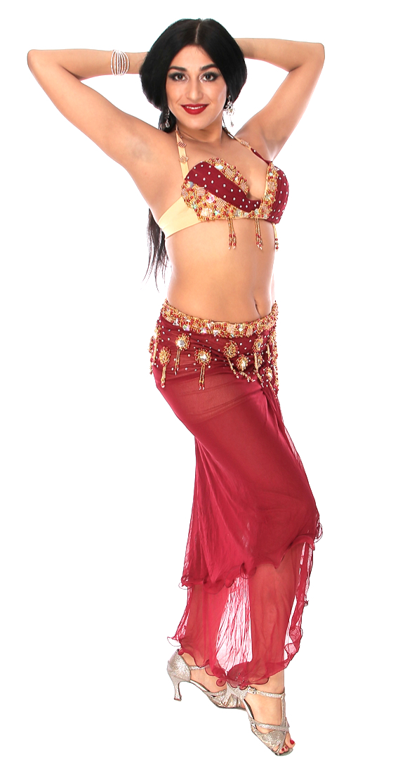53a26da08787c CAIRO COLLECTION: Professional Belly Dance Costume from Egypt - BURGUNDY /  GOLD. Tap to expand. Model: Jasmina