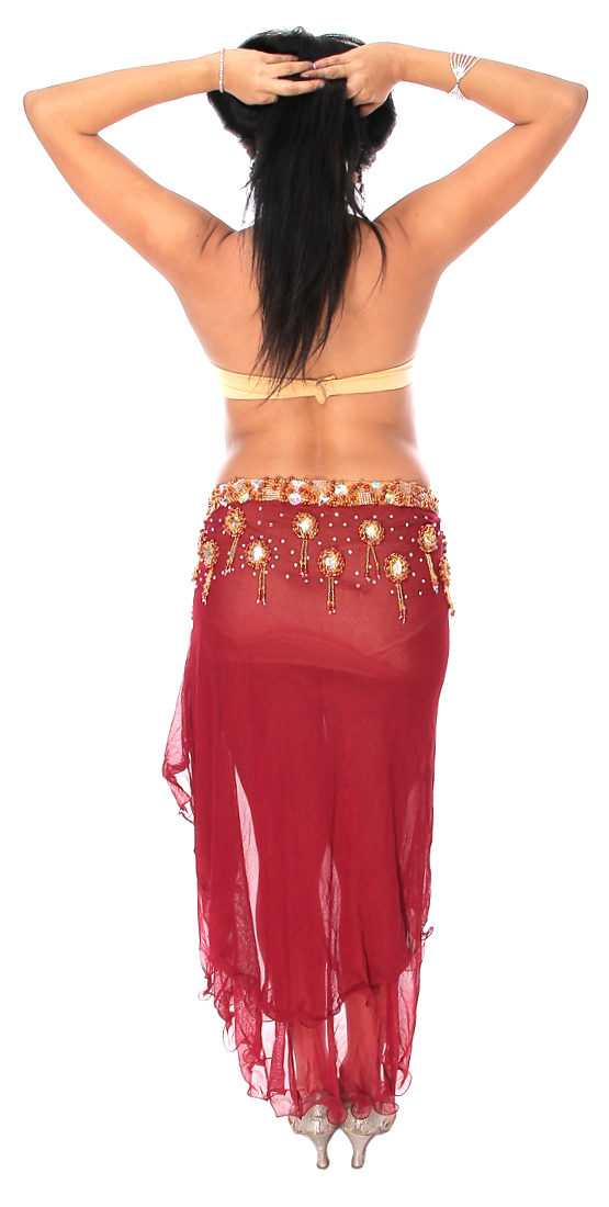 Professional Belly Dance Costume From Egypt In Burgundy