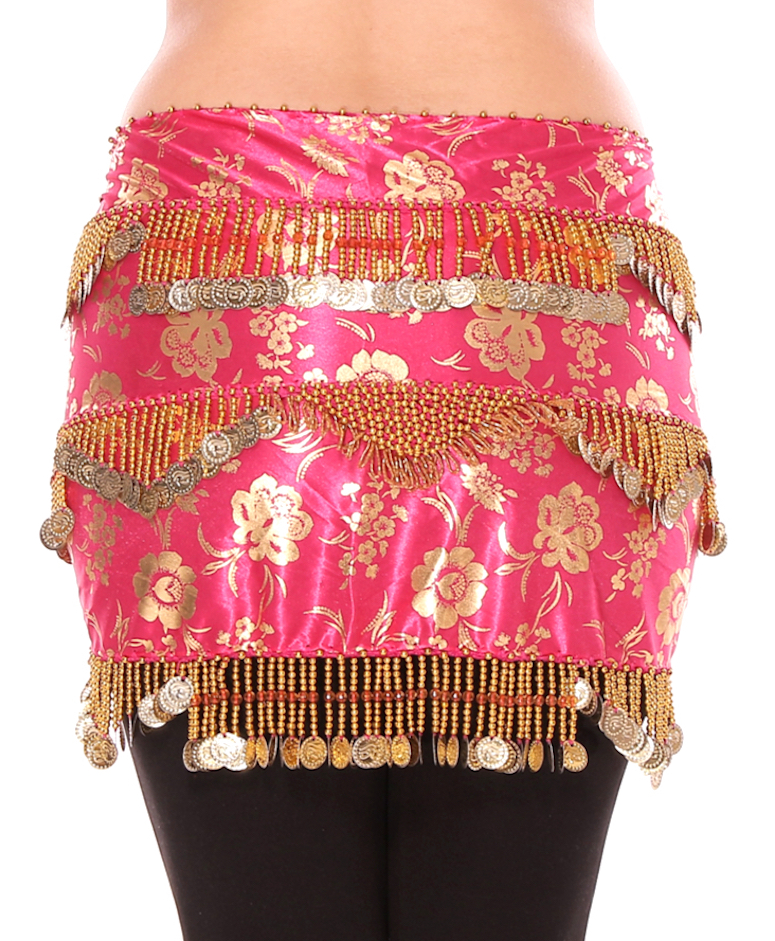 CAIRO COLLECTION: Floral Metallic Print Beaded Coin Hip Scarf - HOT PINK / GOLD