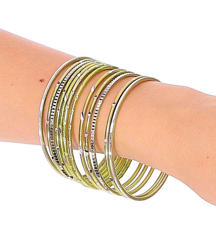 Etched Metal Bangles SET of 12 - LIME GREEN