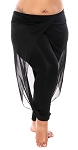 Mesh Drape Pants - BLACK