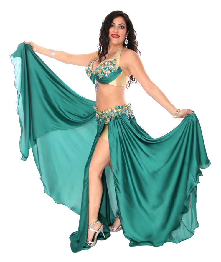CAIRO COLLECTION: Professional Belly Dance Costume from Egypt - TEAL GREEN