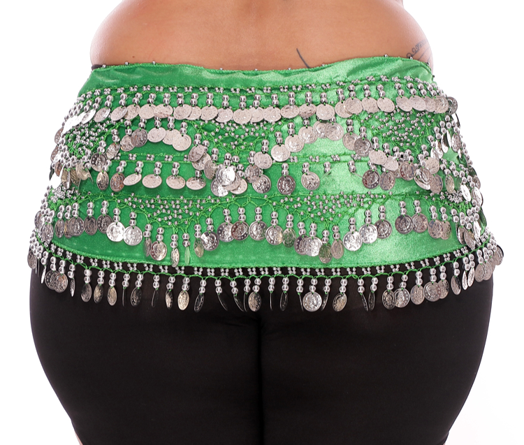 Plus Size 1X - 4X VELVET Belly Dance Coin Hip Scarf Belt - GREEN / SILVER