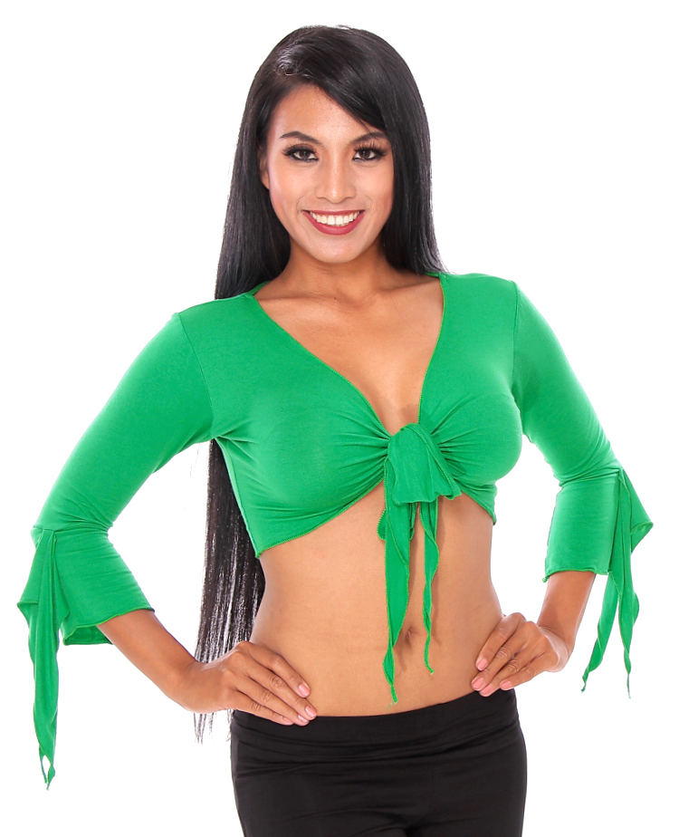 Criss-Cross Choli Top with Handkerchief Sleeves - GREEN
