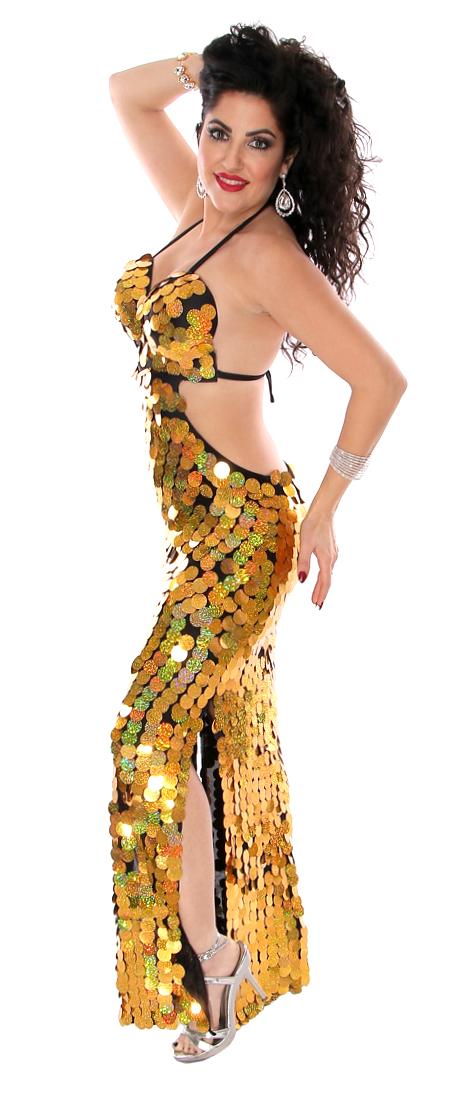 5e138b3d97783 CAIRO COLLECTION: Paillette Beledi Dress - BLACK / GOLD. Tap to expand.  Model: Tonya