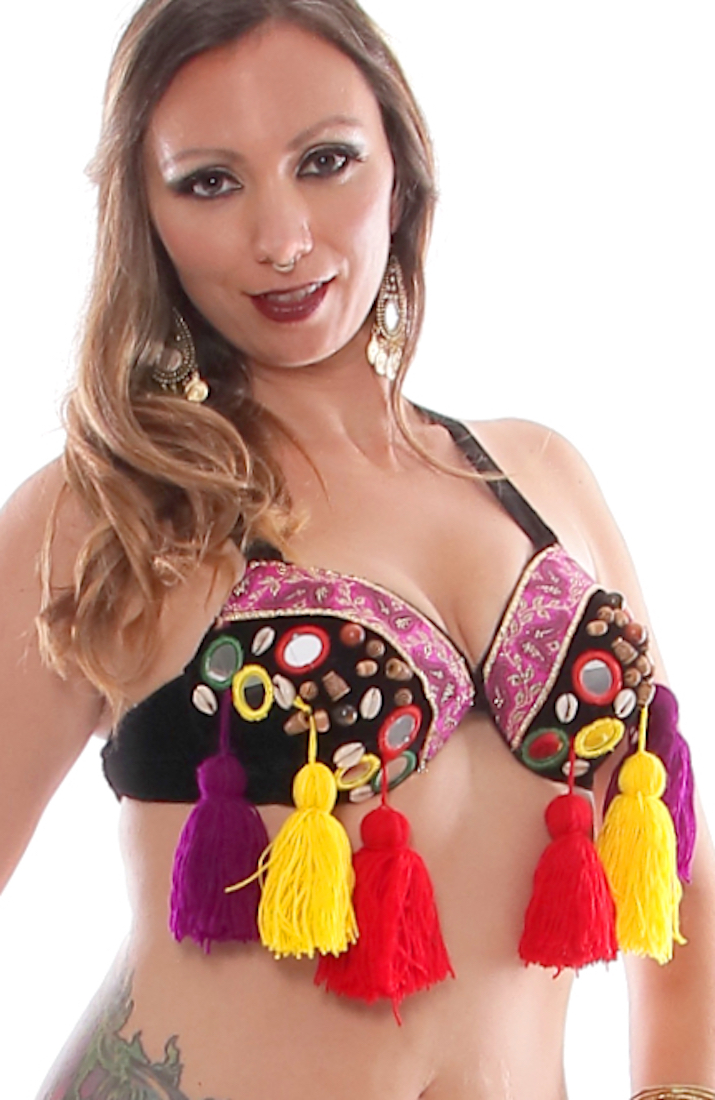 Colorful Shisha Tribal Bra with Shells & Tassels - BLACK / MULTI