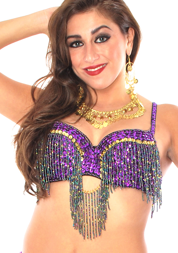 Cabaret Belly Dance Bra with Fringe - PURPLE / GOLD