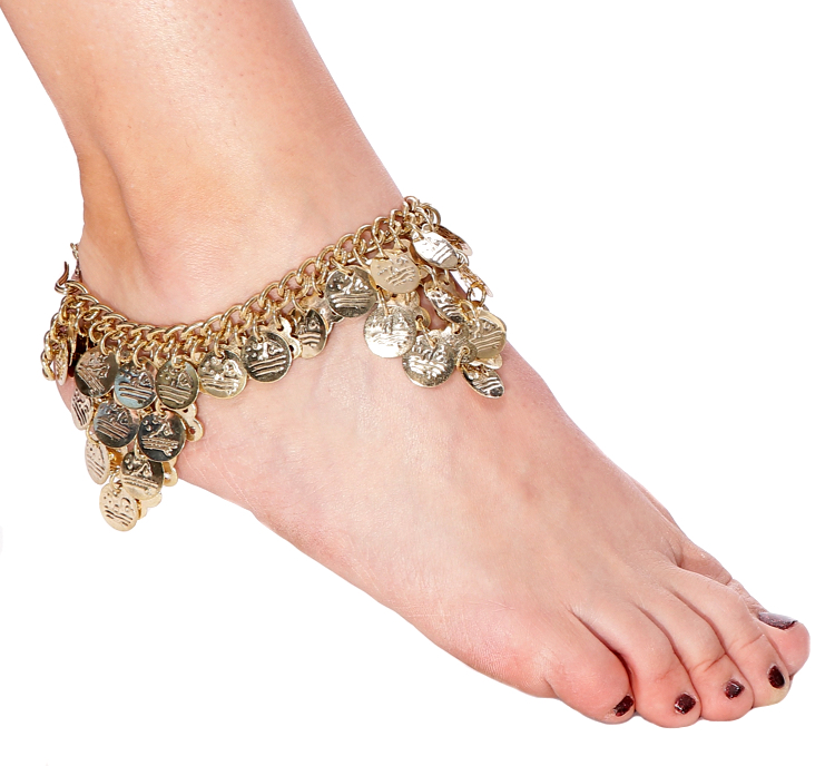 Chain Costume Anklet with Coins - GOLD
