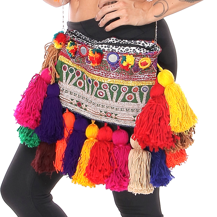 Embroidered Afghani Bag with Tassels and Shoulder Strap