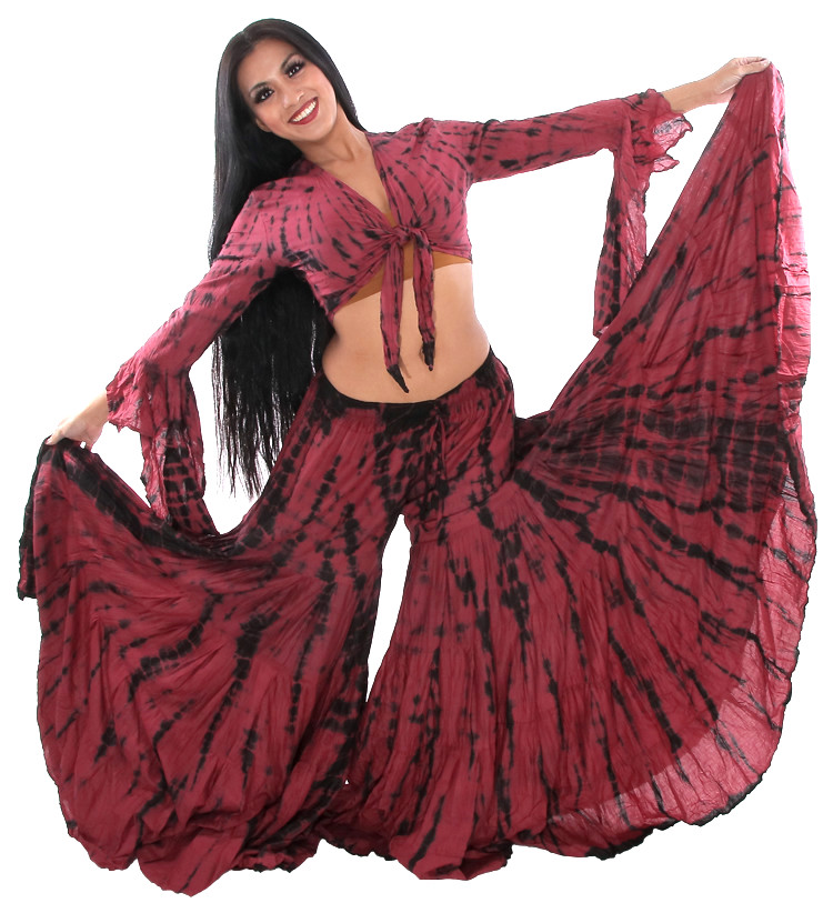 Tie Dye Tribal Fusion Top and Pants Set - BLACK / BURGUNDY
