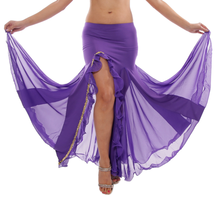 Egyptian Style Skirt with Ruffle Side Slit and Sequin Trim - PURPLE / GOLD