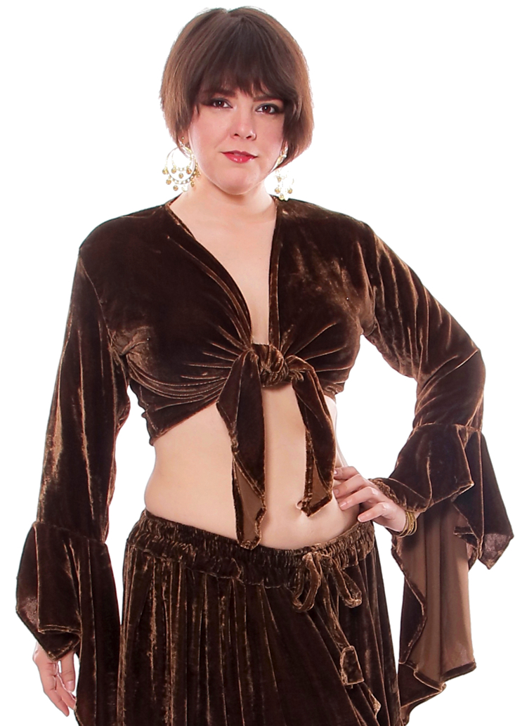 Crushed Velvet Gypsy Tribal Choli Tie Top - CHOCOLATE