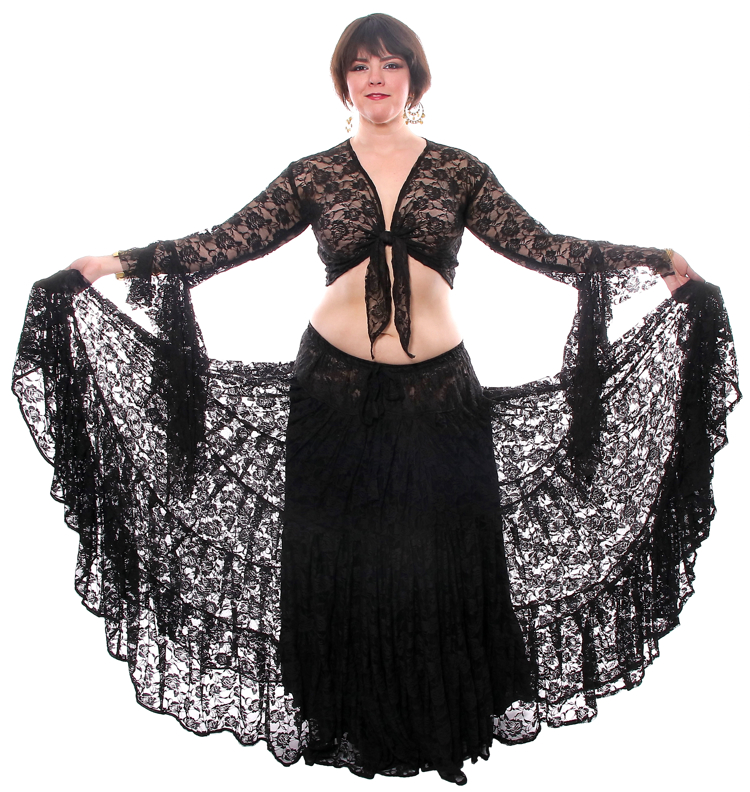 15 Yard Three Tier Lace Skirt with Tie Top Set - BLACK