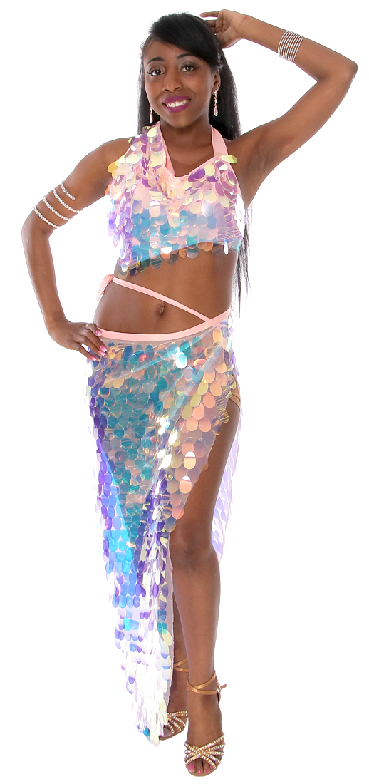 Paillette Costume Bra and Long Wrap Skirt Set - IRIDESCENT WHITE OPAL