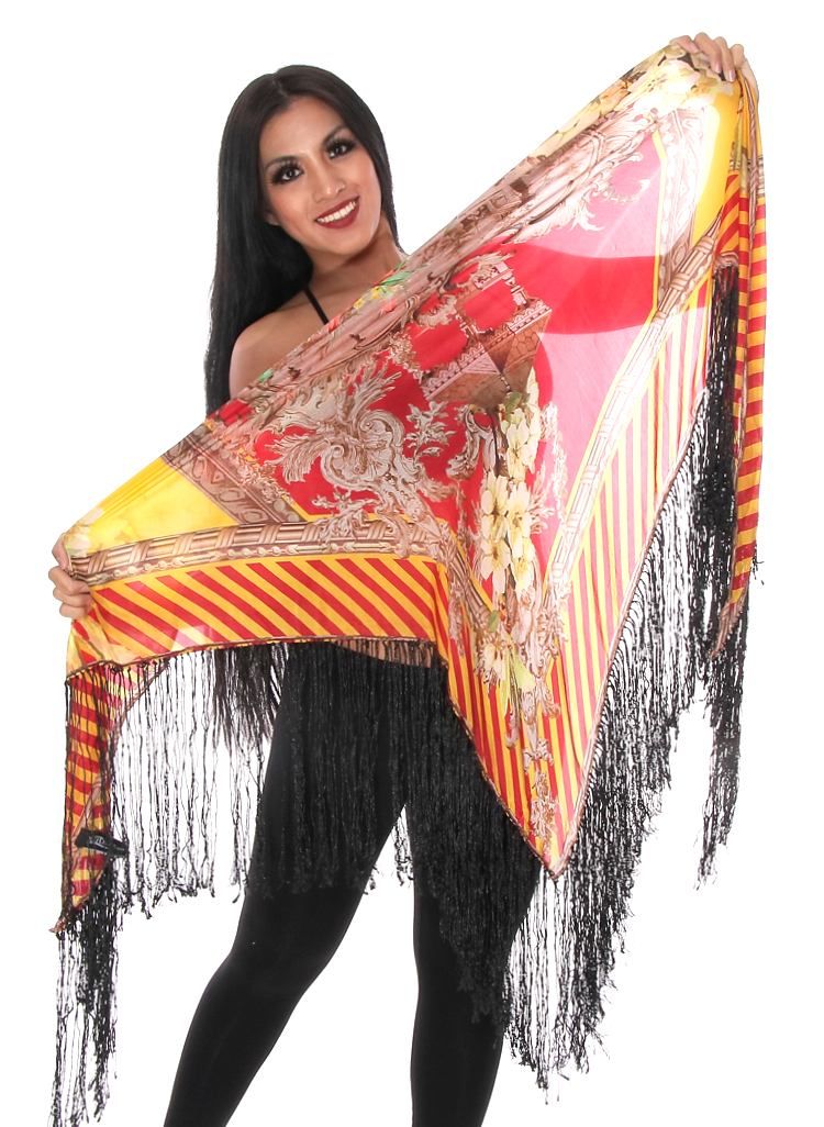Oversized Floral Print Silk Shawl - RED