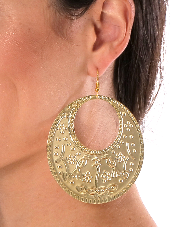 Large Egyptian Folk Style Engraved Metal Earrings - GOLD