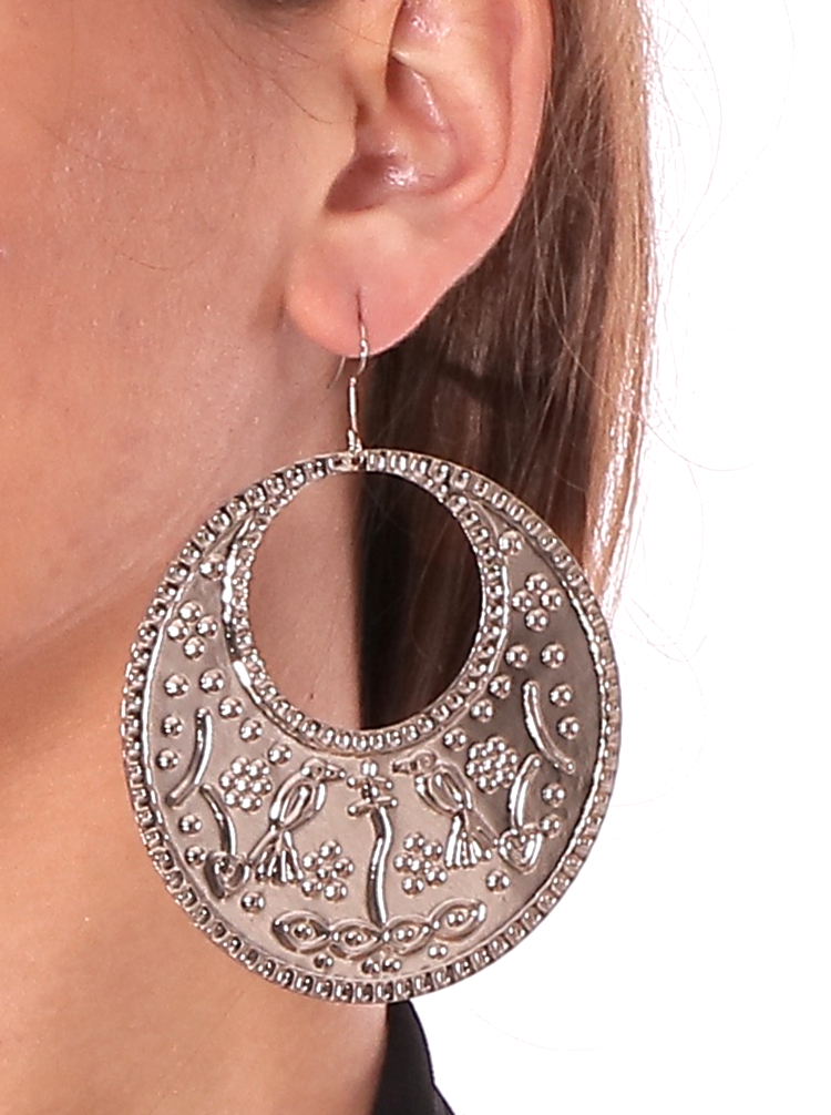 Large Egyptian Folk Style Engraved Metal Earrings - SILVER