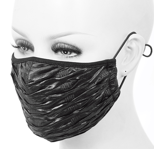 Shiny Textured Face Mask in Black