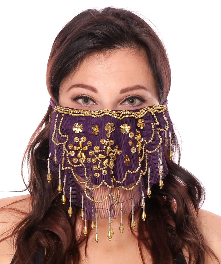2-Layer Ornate Beaded Face Mask - DARK PURPLE/GOLD