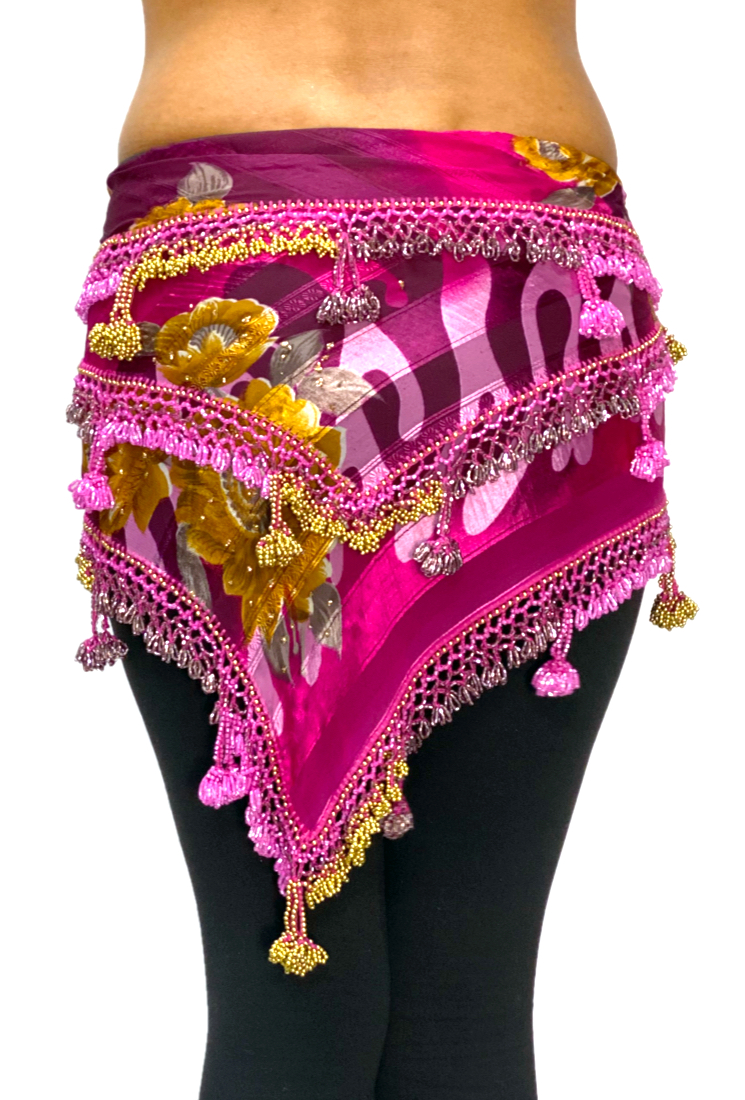 Egyptian Beaded Hip Scarf / Shawl - RASPBERRY GOLD