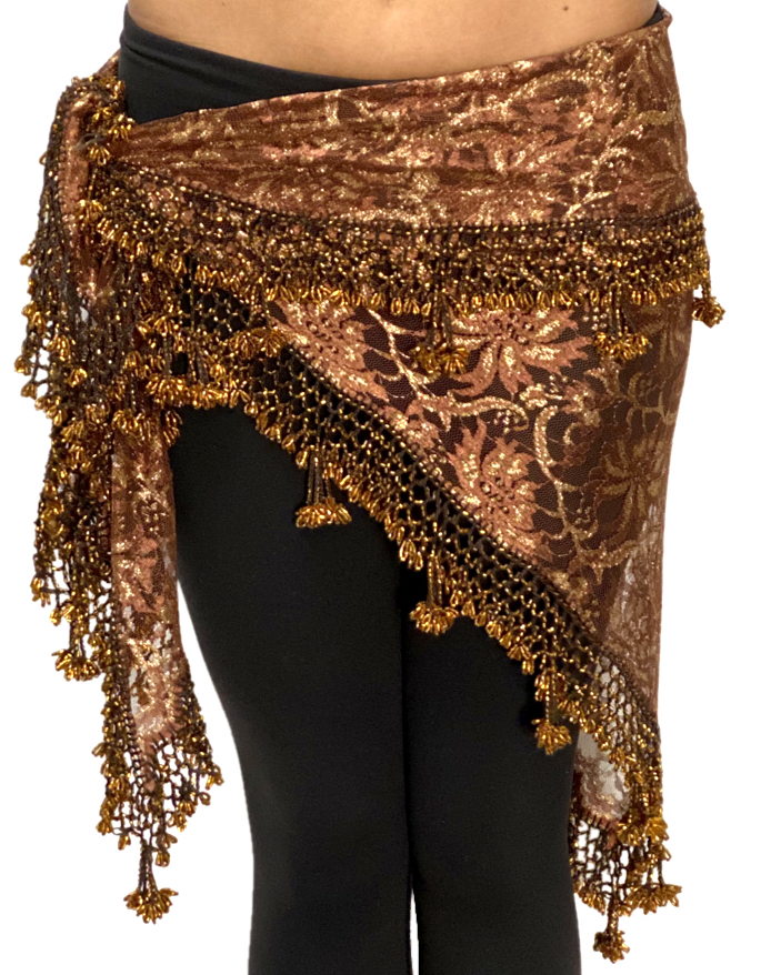 Egyptian Lace Hip Scarf / Shawl - CHOCOLATE