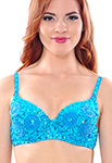 Sequin Belly Dance Costume Bra with Beaded Floral Design - TURQUOISE