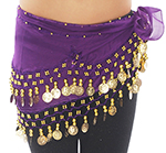 Kids Size Chiffon Hip Scarf with Coins - PURPLE GRAPE / GOLD