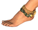 Deluxe Chain & Coin Belly Dance Costume Anklet - GOLD