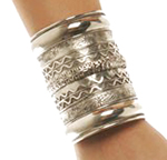 Large Embossed Tribal Cuff Belly Dance Costume Bracelet - SILVER
