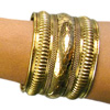 Embossed Tribal Cuff Belly Dance Costume Bracelet from India - GOLD
