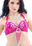 Beaded Satin Belly Dance Bra Top with Sequin Butterfly Design - DARK PINK FUCHSIA