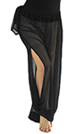 Sheer Belly Dance Harem Pants with Leg Slits Side Tie - BLACK