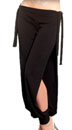 Comfortable Stretch Harem Pants with Side Ties & Slits - BLACK