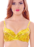 Sequin Cabaret Belly Dance Costume Bra with Beaded Accents  - YELLOW / GOLD