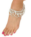 Classic Coin Belly Dance Anklet with Chain Swags - SILVER