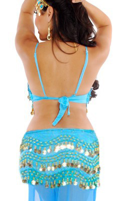 6 Piece Harem Genie Belly Dancer Costume Jasmine Blue Gold