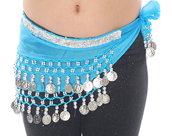 Toddler Size DELUXE Belly Dance Coin Hip Scarf - BLUEBERRY / SILVER