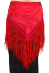 Tribal Belly Dance Embroidered Shisha Belt with Fringe - RED