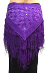 Tribal Belly Dance Embroidered Shisha Belt with Fringe - PURPLE GRAPE