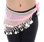 Toddler Size DELUXE Coin Hip Scarf - COTTON CANDY / SILVER