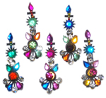 5 Small Colorful Rhinestone Bindis