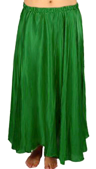 Satin Belly Dance Costume Skirt - GREEN